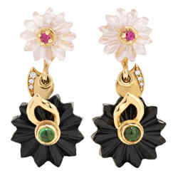 Alice Cicolini pink sapphire, tsavorite garnet and black jade Summer Snow earrings, £2,945