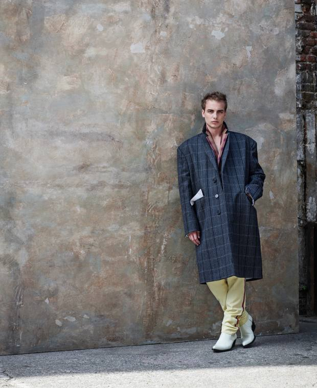 Calvin Klein 205W39NYC woolovercoat, £2,329, wool coat £1,231, wool trousers, £607, and silicone-coated calfskin boots, £906