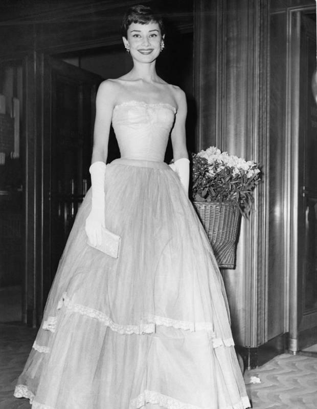 Audrey Hepburn attending the Bafta Film Awards in 1955