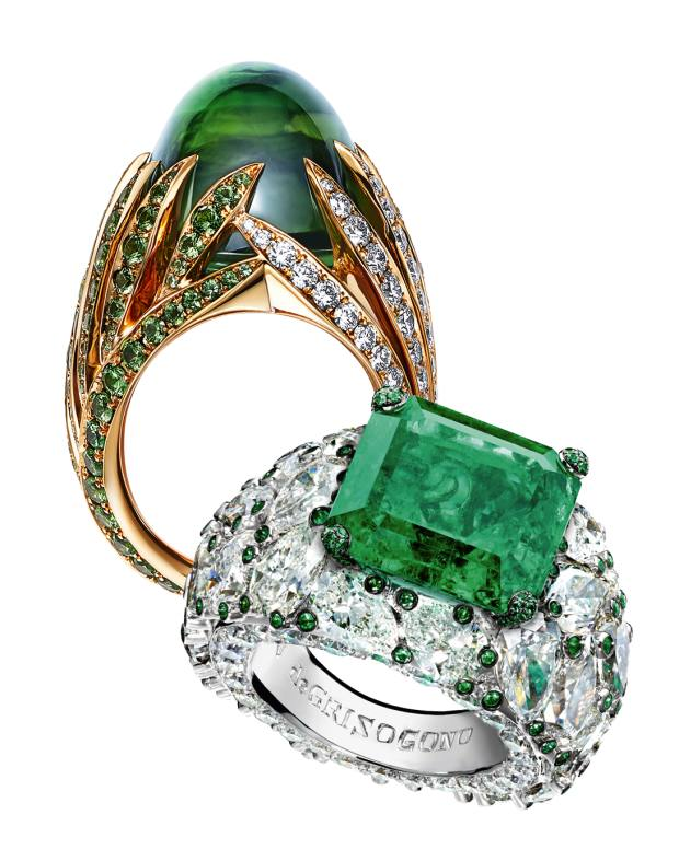 From top: Tiffany & Co gold, diamond, tourmaline and tsavorite garnet ring. De Grisogono white gold, diamond and emerald ring. Both price on request