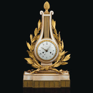 Louis XVI ormolu-mounted white marble mantel clock, c1787, $30,000 to $50,000