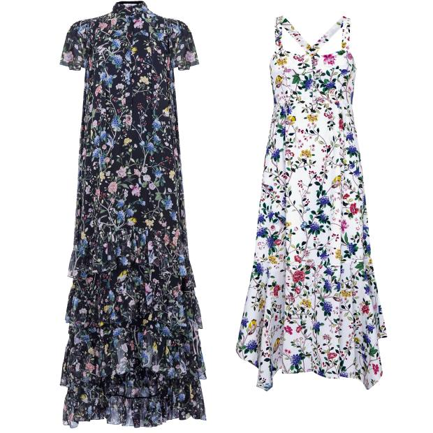 From left: Erdem Aurelio gown, £3,360, exclusively at Erdem. Erdem Oleanna dress, £1,150, exclusively at Net-a-Porter
