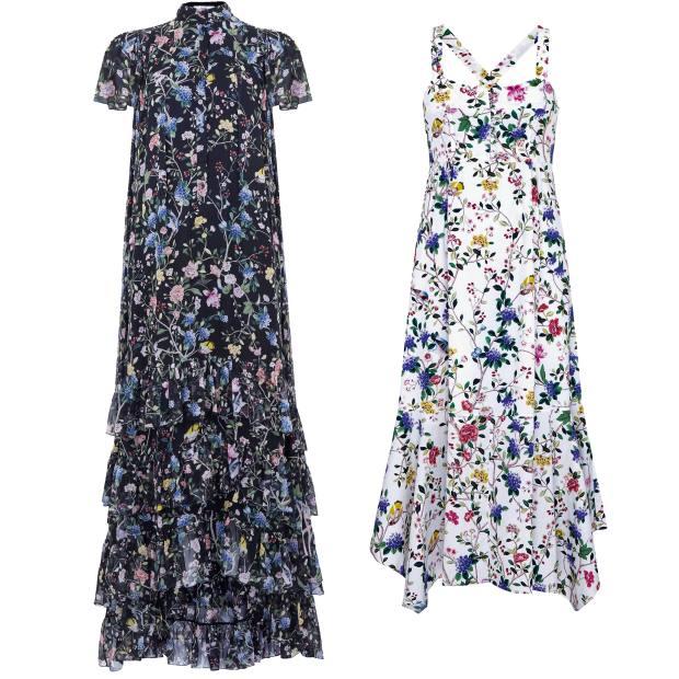 From left: Erdem Aurelio gown,£3,360, exclusivelyat Erdem. Erdem Oleanna dress, £1,150, exclusively atNet-a-Porter