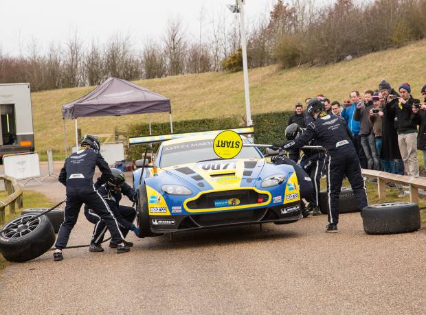 A pit-stop demonstration at Aston Martin's Warwickshire HQ. Part of PistonHeads' Sunday Service events