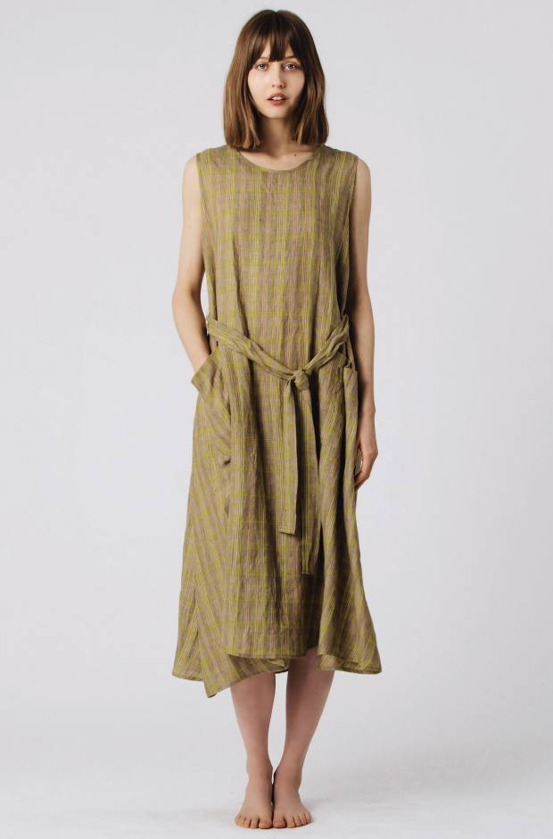 Faircloth & Supply sprouted linen plaid dress, $235.