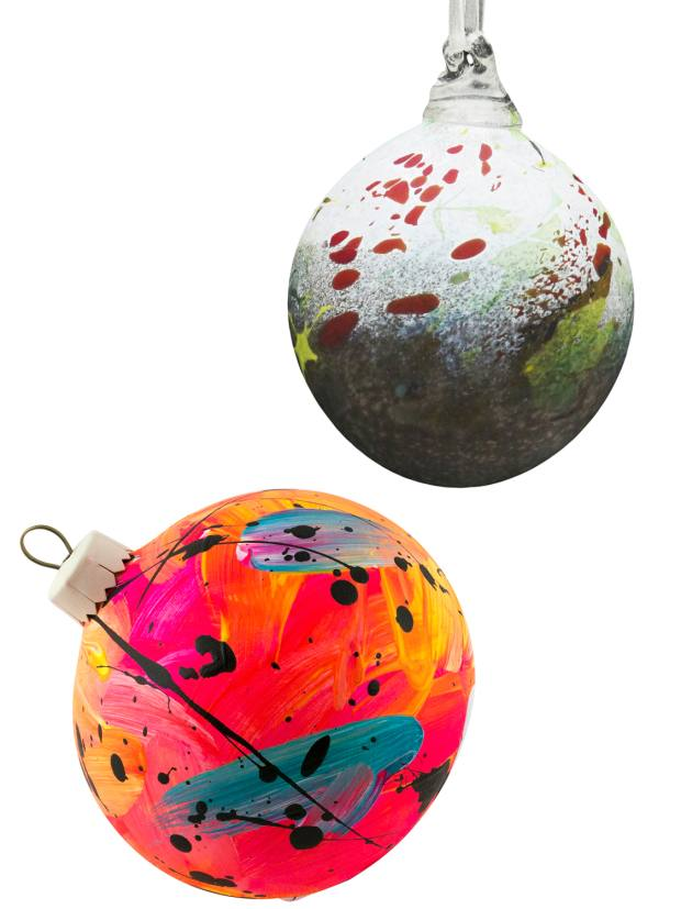 From top: Will Shakspeare Winter Hedgerow bauble, £22. Eat Pray Pedal pink, turquoise and orange bauble, £18