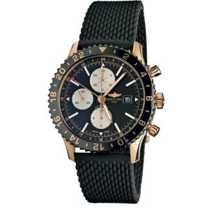 Breitling rose gold and ceramic Chronoliner watch on rubber strap, £23,705