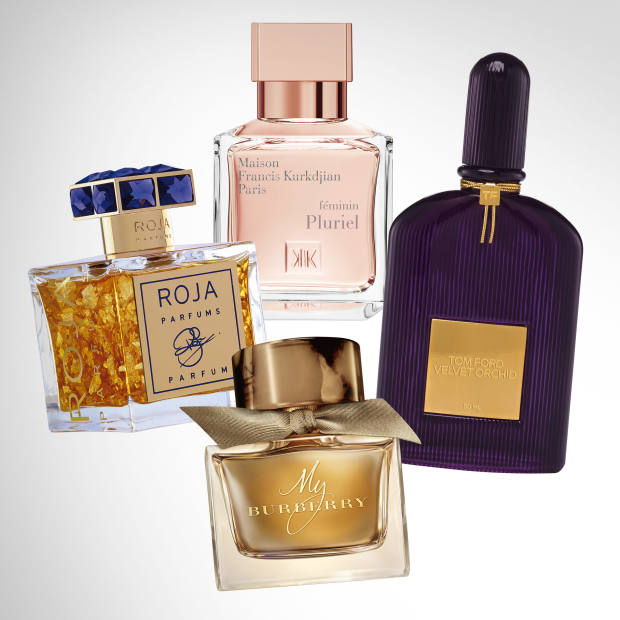 Clockwise from far left: Roja Parfums Roja, £2,500 for 100ml extrait de parfum. Maison Francis Kurkdjian Féminin Pluriel, £120 for 70ml EDP. Tom Ford Velvet Orchid, £72 for 50ml EDP. My Burberry, £90 for 90ml EDP