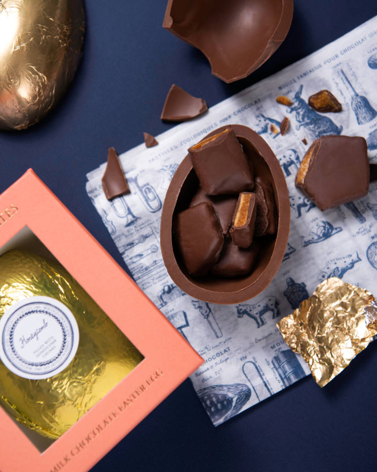 Rococo Milk Honeycomb Easter Egg with honeycomb pieces, £32.95
