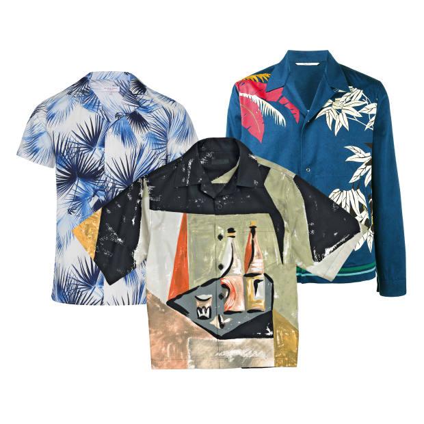 From left: Orlebar Brown cotton shirt, £175. Prada cotton poplin shirt, £505. Valentino cotton jacket, £690 at Browns