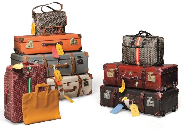 Several of David and Lucy Tang's Globe-Trotter and Goyard suitcases are monogrammed, £1,000-£1,500