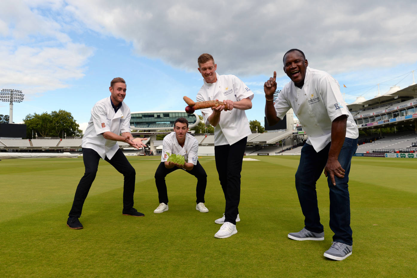 From left: Stuart Broad, Toby Roland-Jones, Keaton Jennings and Devon Malcolm take part in Chance To Dine, 2017