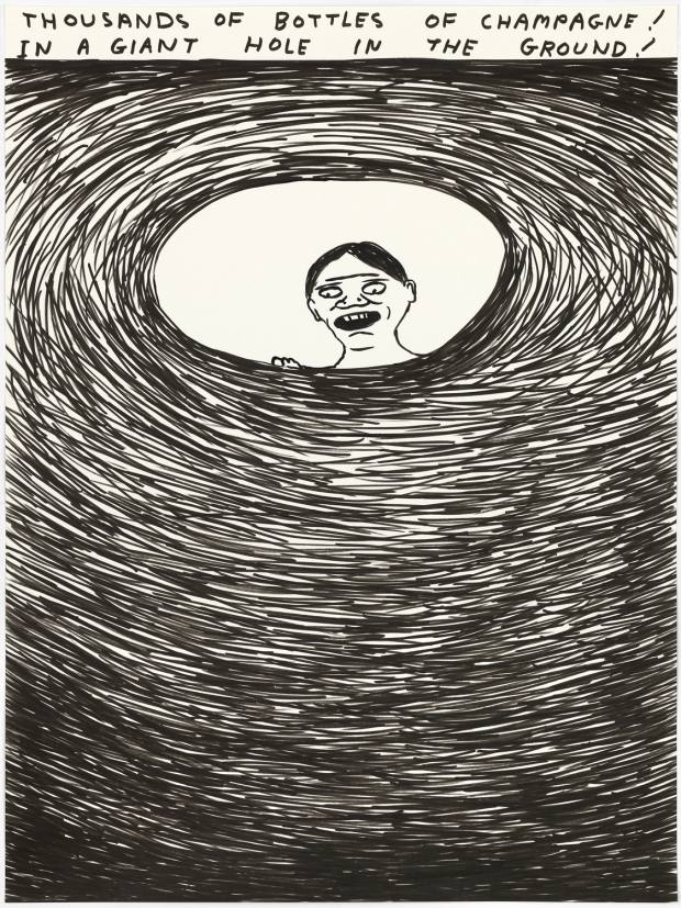 Thousands Of Bottles Of Champagne! In A Giant Hole In The Ground! by David Shrigley