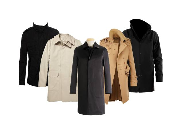 From left: Fabre jacket, £585, by Moncler. Wool garbadine trench coat, £825, by Yves Saint Laurent. Dunkeld, £540, by Mackintosh. Double-breasted trench coat, £1,295, by Burberry Prorsum. Arholma Svart raincoat, £350, by Stutterheim.