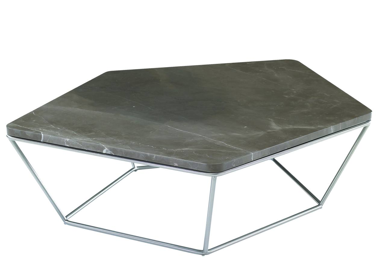 Natuzzi Chocolat side table (101cm x 83cm x 28cm) in nickel and Amani stone, £950. Also in white travertine/grey imperial stone