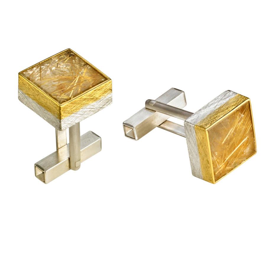 Josef Koppmann gold and silver cufflinks with rutilated quartz, £850