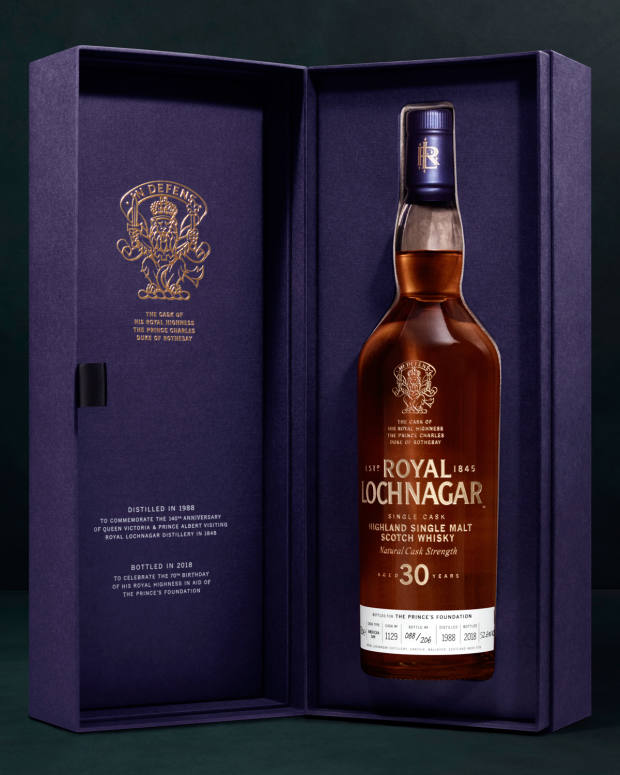 Each bottle is supplied in a special presentation box and will feature etched lettering with gold infill, together with the arms of the Duke of Rothesay