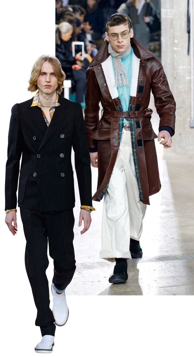 From left: Lanvin wool jacket,£2,395, cotton shirt,£570, wool trousers, £665. Lambskin trenchcoat, £4,985, cotton T-shirt, £235, and cotton trousers, £665