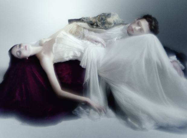 Sleeping Beauty wears satin dress with chiffon skirt, £2,915, by Alberta Ferretti