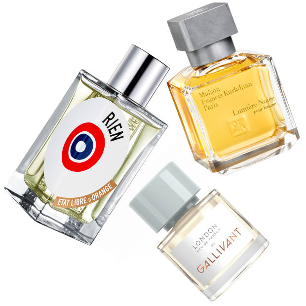 Clockwise from left: Rien by État Libre d'Orange (€135 for 100ml); Lumiere Noire pour femme by Maison Francis Kurkdjian (€150 for 70ml EDP); London by Gallivant (£65 for 30ml EDP)