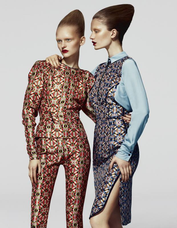 Anni ( left) wears silk blouse, £358, and matching trousers, £350, both by Schumacher. Maria (right) wears silk blouse, £296, and matching skirt, £272, both by SchumacherSchumacher, www.dorothee-schumacher.com