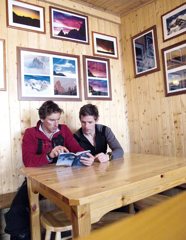 In the Turin hut planning the route.