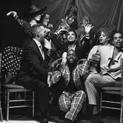 The cast of Paris is Burning (1990). Back row, from left: Angie Xtrava, Kim Pendavis, Pepper Labeija, Junior Labeija. Middle row, from left: David Xtrava, Octavia St. Laurent, Dorian Corey, Willi Ninja. Front: Freddie Pendavis