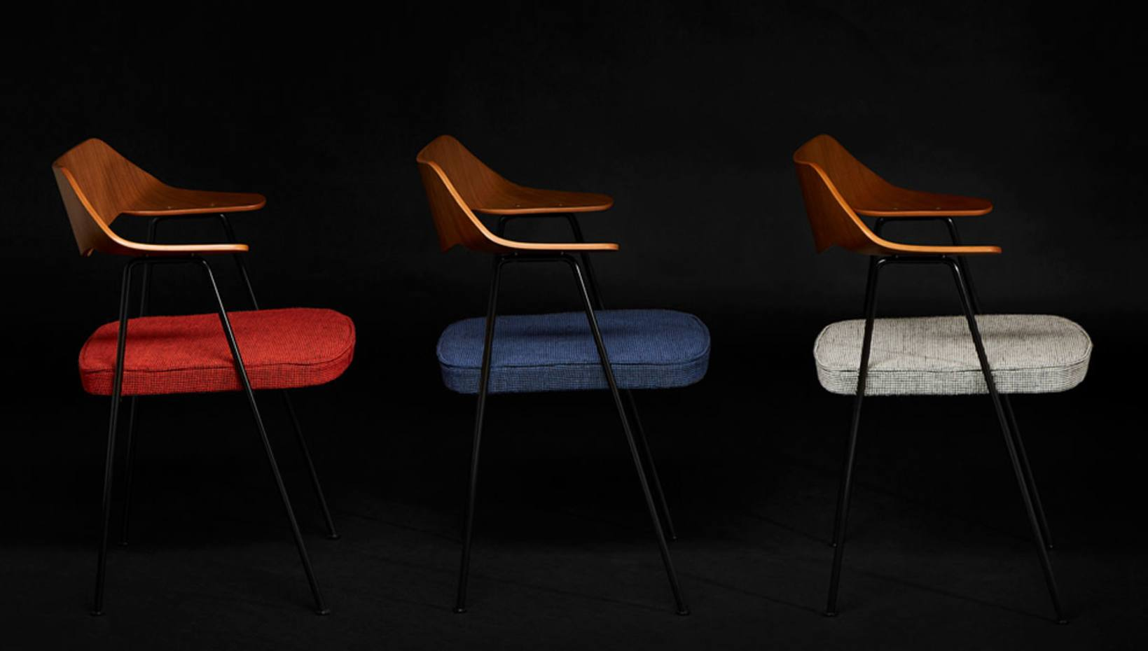 From left: the Special Edition 675 Chair in Robin Red, Bilberry Blue and Granite Grey, £345 each