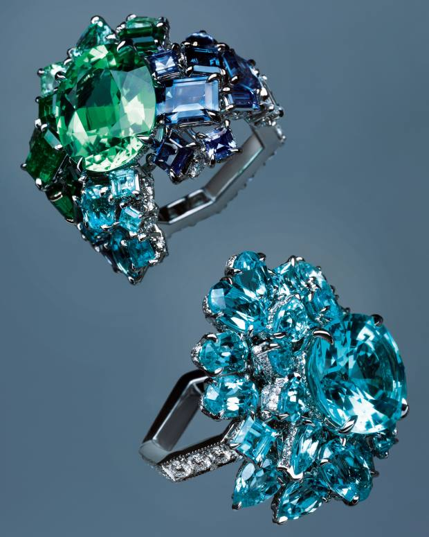 From top: Gem Dior by Dior Joaillerie Vert Tilleul Paraíba tourmaline ring and Bleu Cyan Paraíba tourmaline ring, both POA