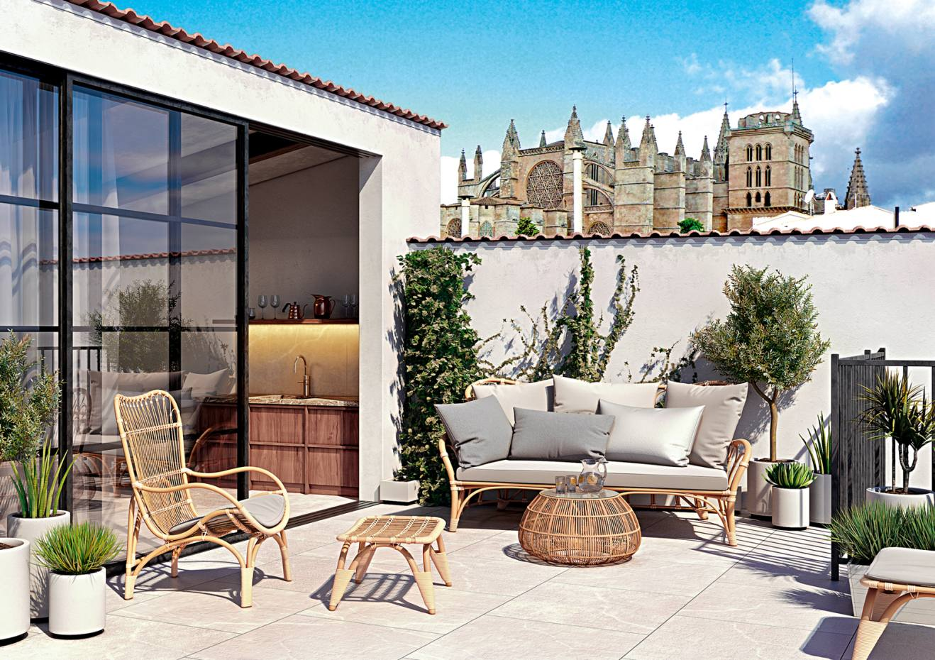 In Palma de Mallorca's Old Town, the 16th-century palace Pont 1 Vic now houses nine modern apartments with period features, €600,000-€4.1m