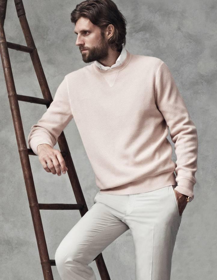 Ermenegildo Zegna Sartoria silk/cashmere jumper, £645, and cotton chinos, £345