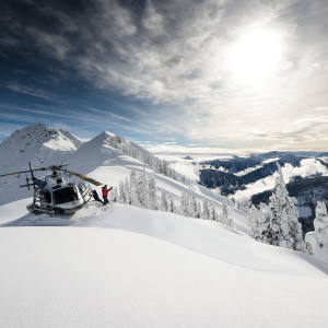 Heliskiing in the Selkirk Mountains near Revelstoke, British Columbia