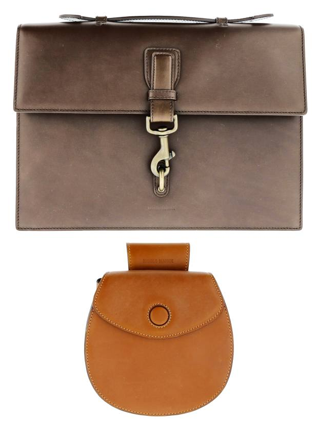 Calfskin business bag, price on request, and leather saddle bag, price on request