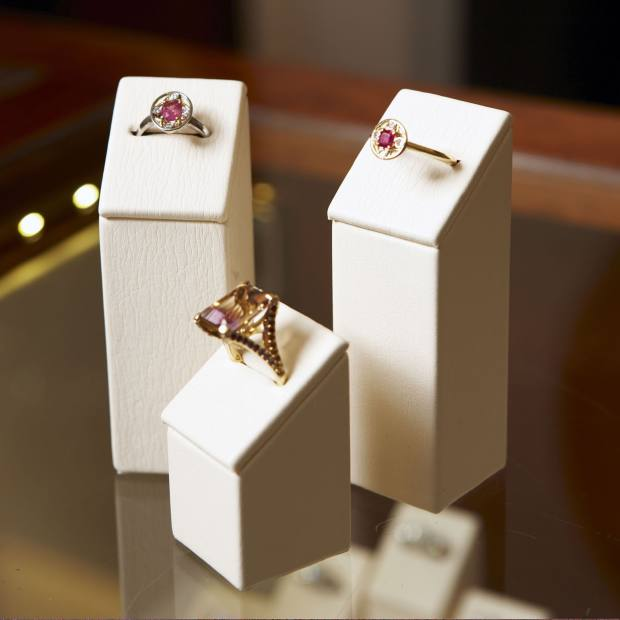 Mallory designs in 18ct gold, from left: ruby and diamond cluster ring with white gold, £1,725; ametrine, amethyst and citrine ring, £2,250; ruby and diamond cluster ring, £1,950