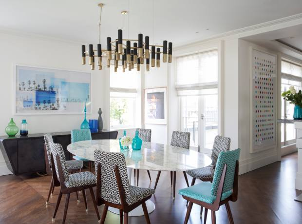 A Notting Hill duplex designed by Ash Design, including a Julian Chichester cabinet, Jonathan Adler dining chairs and Delightfull lighting