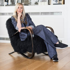 Fashion designer Amanda Wakeley at her London home