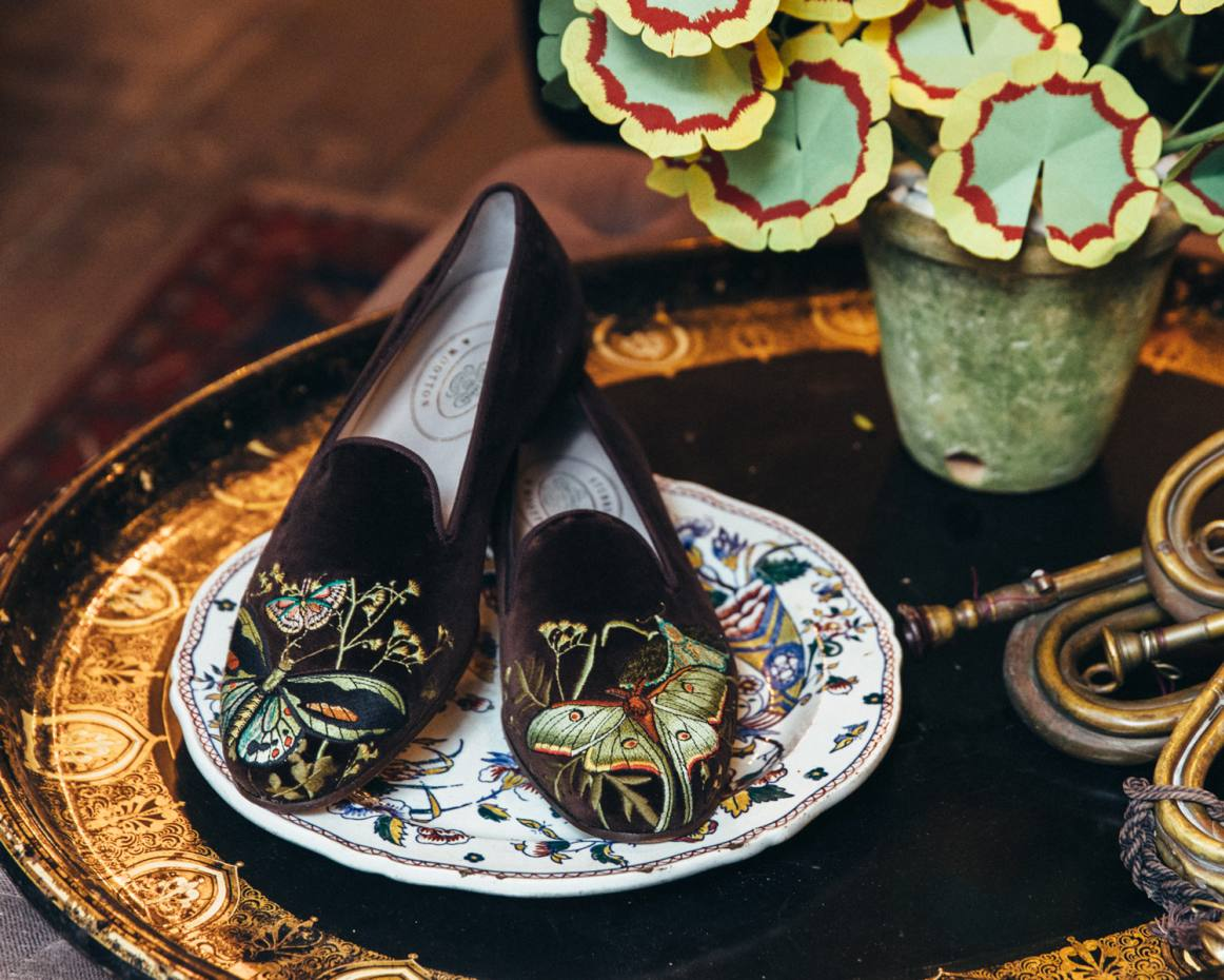 Stubbs & Wootton has collaborated with designer John Derian to create a collection of embroidered slipper-style shoes that are available for pre-order at $650 per pair