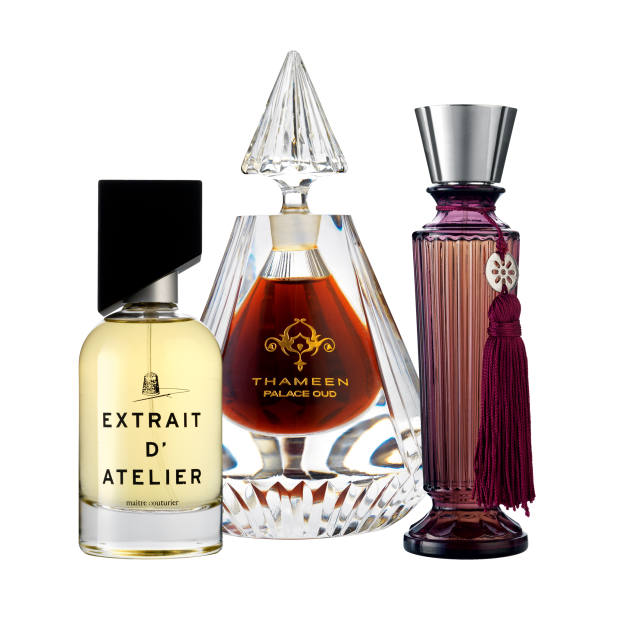 From left: Extrait d'Atelier Maître Couturier, £139 for 100ml EDP. Thameen Palace Oud, £2,750 for 50ml parfum. Neela Vermeire Mohur Extrait, £315 for 50ml EDE