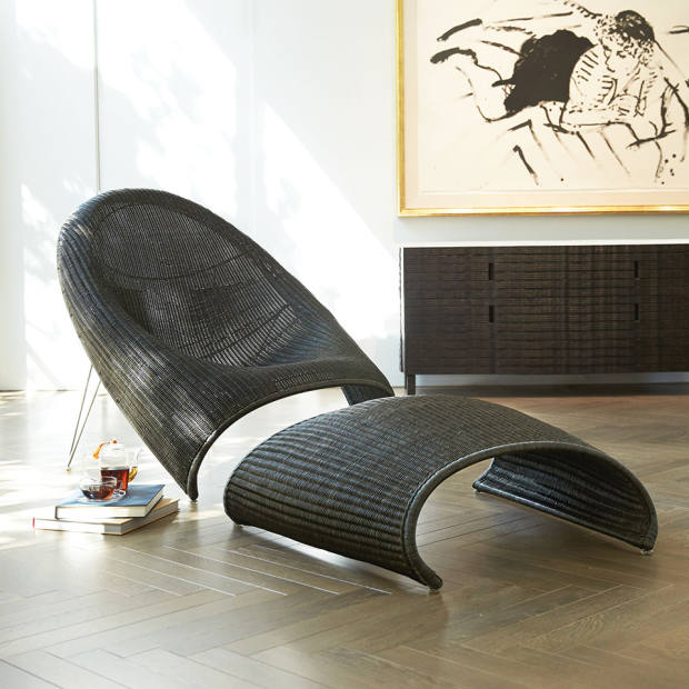 Fibonacci Anda lounge chair, €3,281, and ottoman, €1,614, both by Gabellini Sheppard