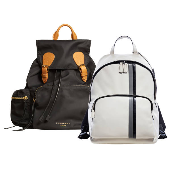 From left: Burberry Prorsum nylon and leather The Rucksack, £895. Prada leather backpack, £1,240