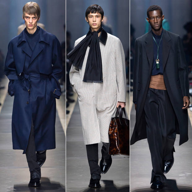 From left: Dunhill wool trench, £2,195, silk shirt, £425, and silk trousers, £350. Wool/cotton and leather coat, £2,195, silk trousers, £350, silk scarf, £295, and leather tote, £2,095. Silk coat, £2,495, silk shirt, £425, silk/wool trousers, £595, and silkcummerbund, £1,995