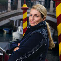 Architect and designer Patricia Urquiola, near the Punta della Dogana museum, Venice.