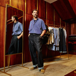 Patrick Grant in the E Tautz store in Mayfair, wearing cotton Whitby shirt, £295, and denim field trousers, £230