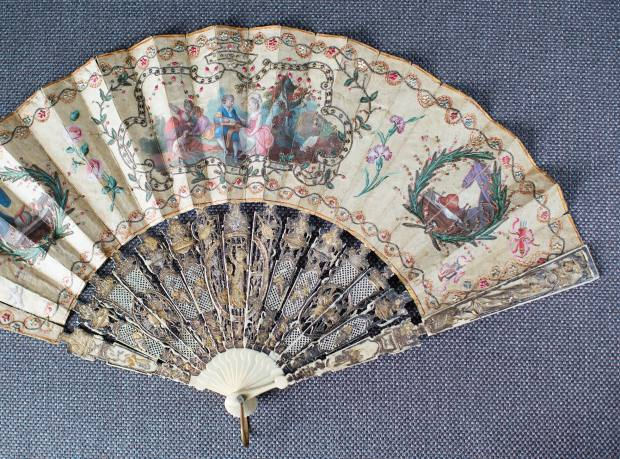 An antique French fan from the Carré Rive Gauche area in Paris
