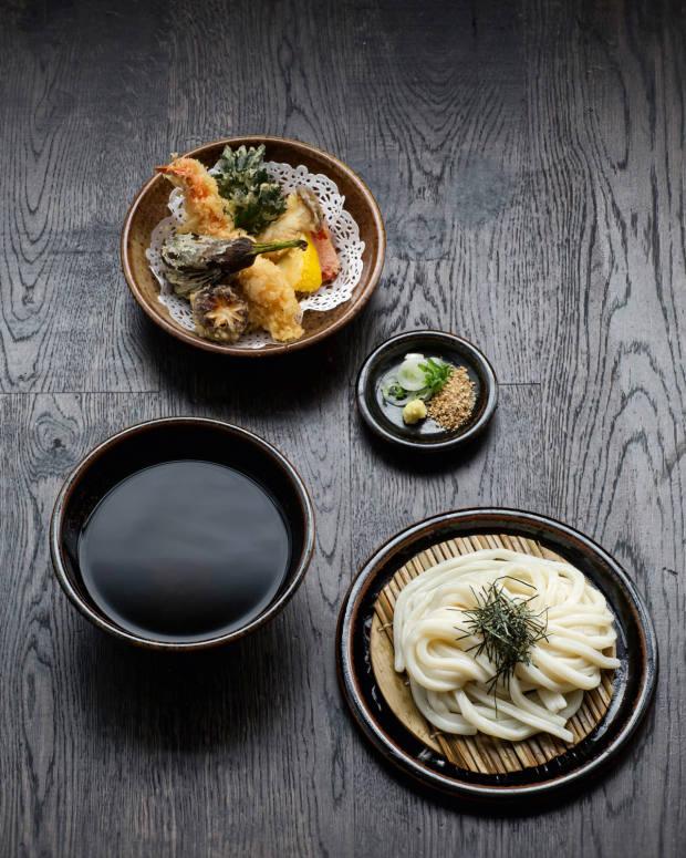 Prawn and vegetable tempura at Soho restaurant Koya