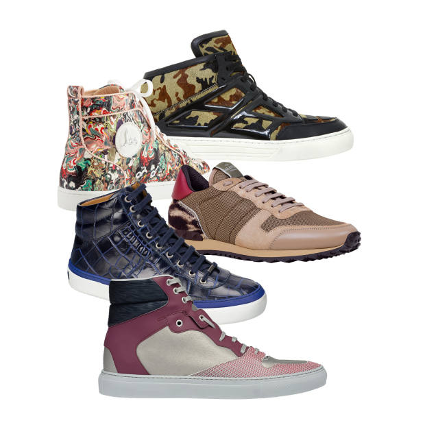 From top: Alejandro Ingelmo leather mid-tops, £493. Christian Louboutin python Rantus Orlato high-tops, £1,345. Valentino nappa-leather and nylon Rockstud trainers, £430. Jimmy Choo leather Belgravia high-tops, £475. Balenciaga calfskin and cotton Chameleon high-tops, £355