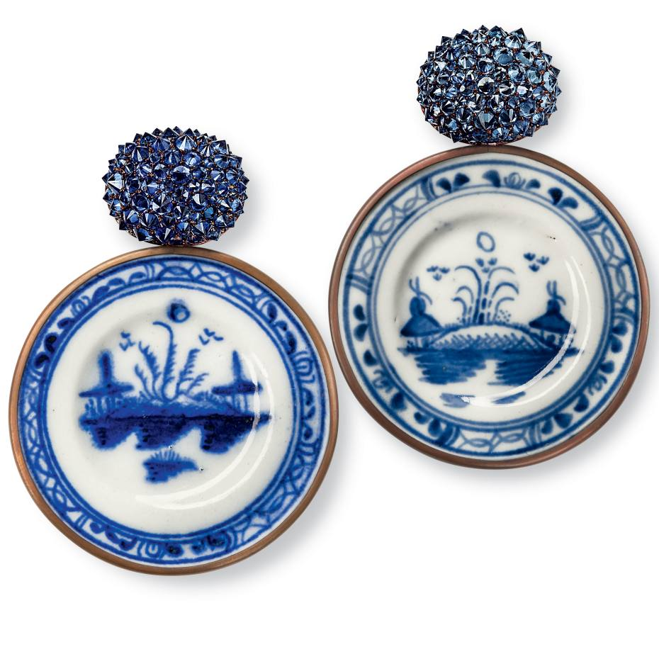 Hemmerle's 18th-century porcelain plates-inspired earrings, price on request