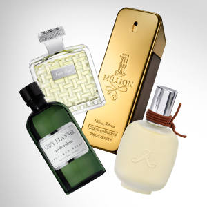 From left: Geoffrey Beene Grey Flannel, £45 for 60ml EDT). Houbigant Fougère Royale, £105 for 100ml EDP. Paco Rabanne 1 Million, £56 for 100ml EDT. Les Parfums de Rosine Rose d'Homme, £84 for 100ml EDP