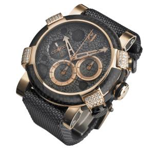 Romain Jerome limited-edition Moon Dust Red Mood Chrono watch in rose gold, carbon fibre and diamonds, £28,100