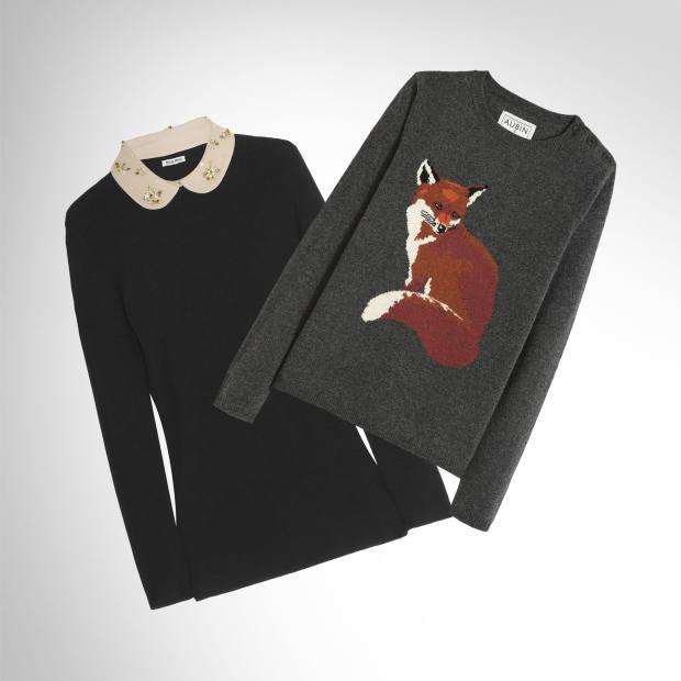 (Left) Miu Miu wool‑blend sweater with embellished collar, £660. (right) Aubin & Wills merino jumper, £125